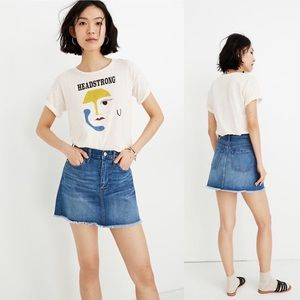 Madewell Rigid Denim A-Line Fluffy Hem Mini Skirt